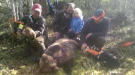 Skytten Remi och plotten Mack, Rasmus Boström och dottern Mina, 3 år, jaktledare Henrik Svensson och plotten Oryx.