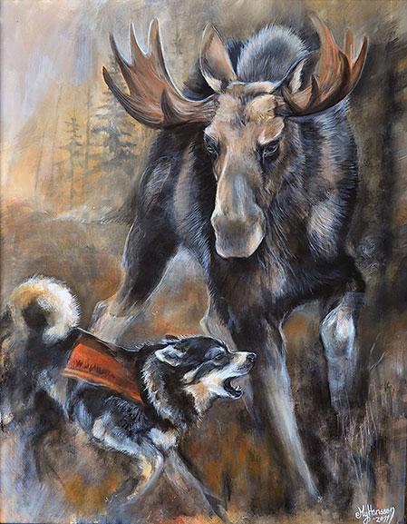 """Tavlan """"Aro och skoveltjuren"""" målade My till Aros husse efter att hon fått skjuta just en skoveltjur för Aro."""