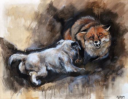 """Tavlan """"Grytjakt med Tikkbert"""" målade My efter att ha upplevt samma scen vid en jaktdag i Skinnskatteberg."""