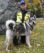 Magnus Persson, Stugun med sin Jämthund Pondus som blev fyra på Nordiska mästerskapen för älghundar.