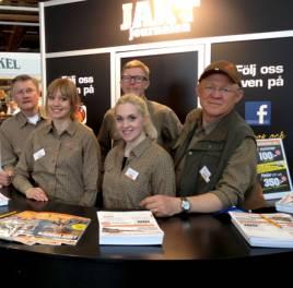 JJ:s medarbetare på mässan hade en fantastisk helg. Massor av trevliga jägare besökte oss. Tack! Från vänster; Holger Nilsson, My Hansson, Anna Åström, Per Jonson och Roger C Åström.