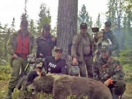 Gästerna vid Exklusive Adventure i Järpen var alla nära att skjuta dagens björn. Från vänster; Torgeir Welve, Ove M Hatlestrand, Jan Hegre, Axsel H Hembre, samt Paal Larsen. Skytten Robin Strömqvist håller i sina hundar Buniak och Norma.