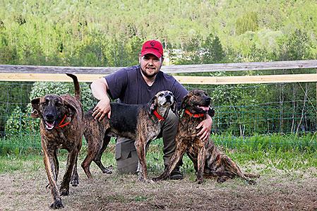 Remi Olsen med tre av sina plotthundar hemma på gården i Røkland i Nordnorge.