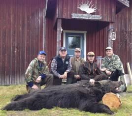 Nöjda björnjägare i Vilhelminaskogarna, fr v Bosse Hellquist, Örjan Strömberg, Håkan Holmgren, Robert Salomonsson och Arne Björnholt.