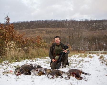 Gyözö Tengerdi hade en fantastisk eftermiddag på dagens sista pass och fyra vildsvin föll för hans skott.