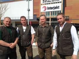 Medarbetarna i den nya jaktbutiken i Östersund. Från vänster: Gunnar Karlstedt,  Christer Lundemo, Kevin Kirk och Mattias Eriksson.
