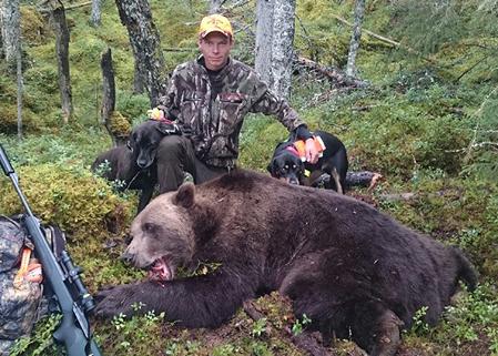 Jonathan Lindqvist fällde i går morse en stor hanbjörn på 260 kg.