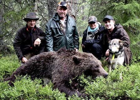 Morgonens björnjaktsgäng utanför Borgafjäll sköt björnen mycket tack vare Urak. Fr v skytten Mats Edman, Lars Vikström, Agnetha Skoglund och Robert Salomonsson med sin Urak.