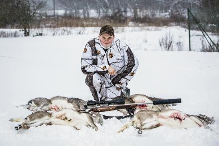 Fyra dovkalvar blev facit för Glenn denna januaridag när snön kom till Skåne.