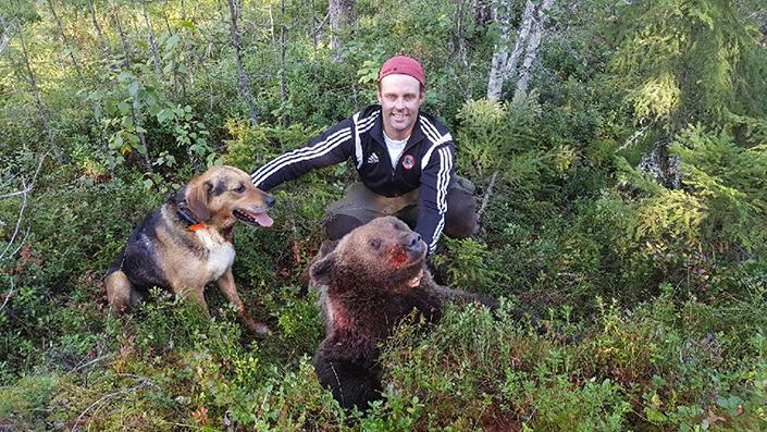 Hans Norborg med sina andra björn på två dagar jakt. Även den fällde han tack vare halvstövaren Gunvalds arbete.