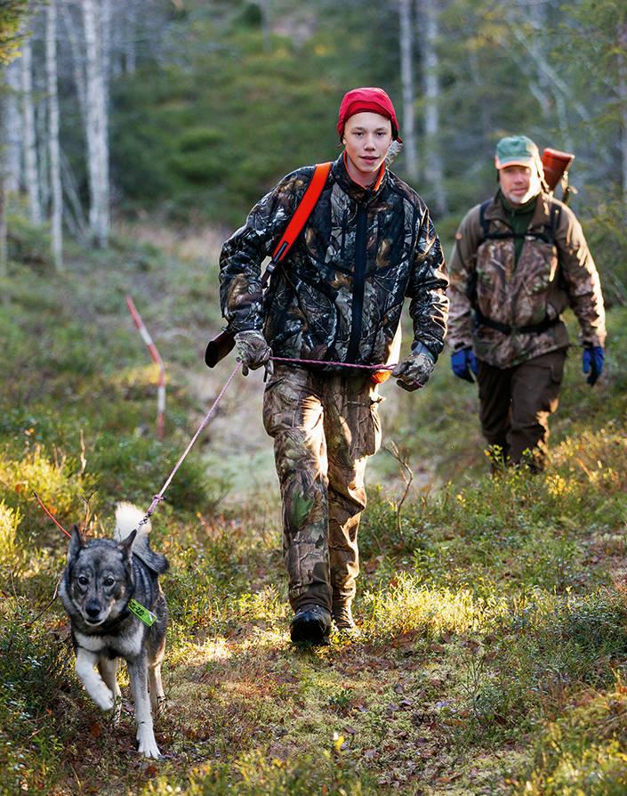 Oskar och pappa Per From med älghunden Ali på väg ut på älgjakt i skogarna väster om Glommersträsk.