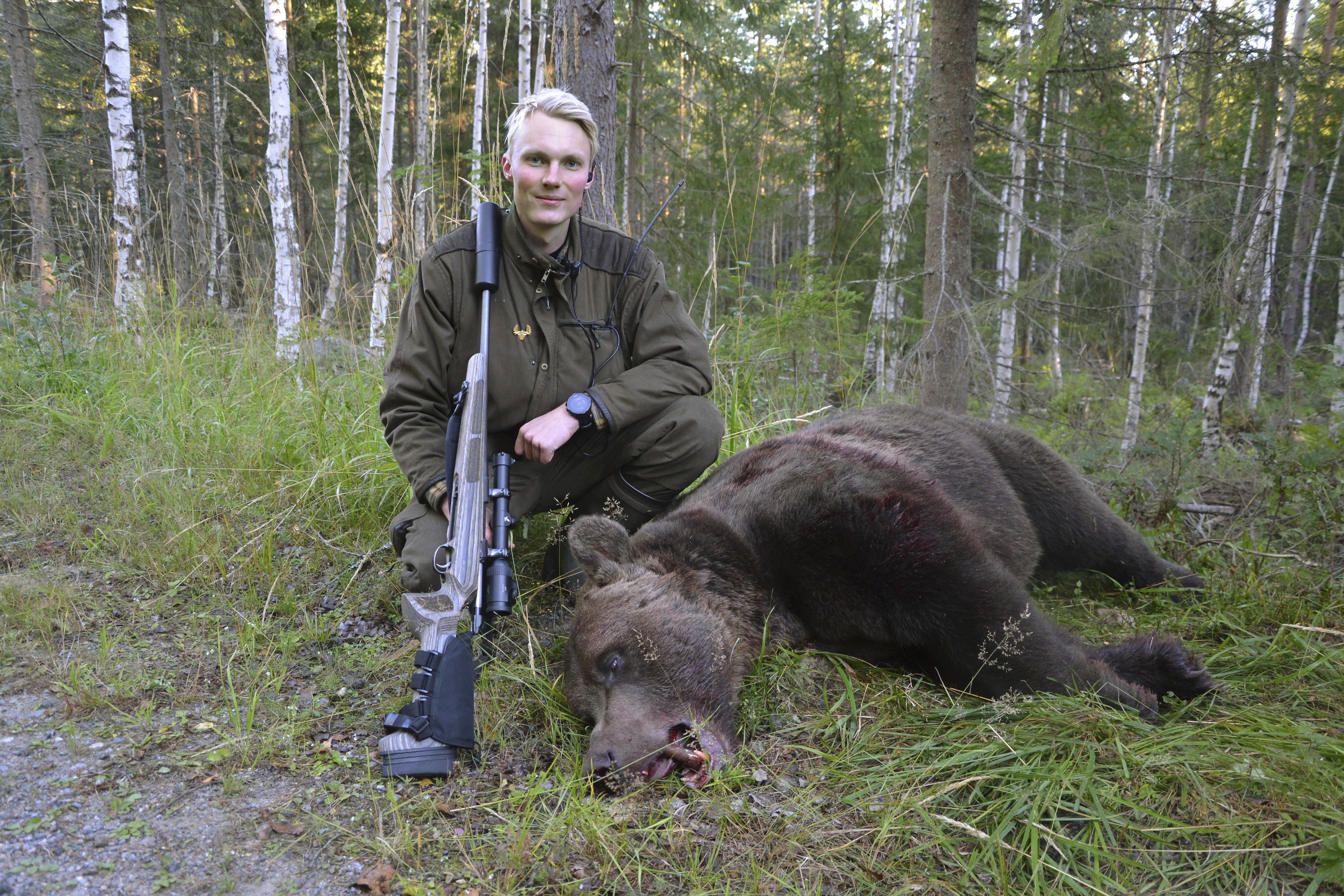 2018 fick Johan Alkberg skjuta sitt livs första björn - en 281-kilos hane som blev den största som fälldes i den svenska licensjakten förra året. Foto: Torbjörn Pant
