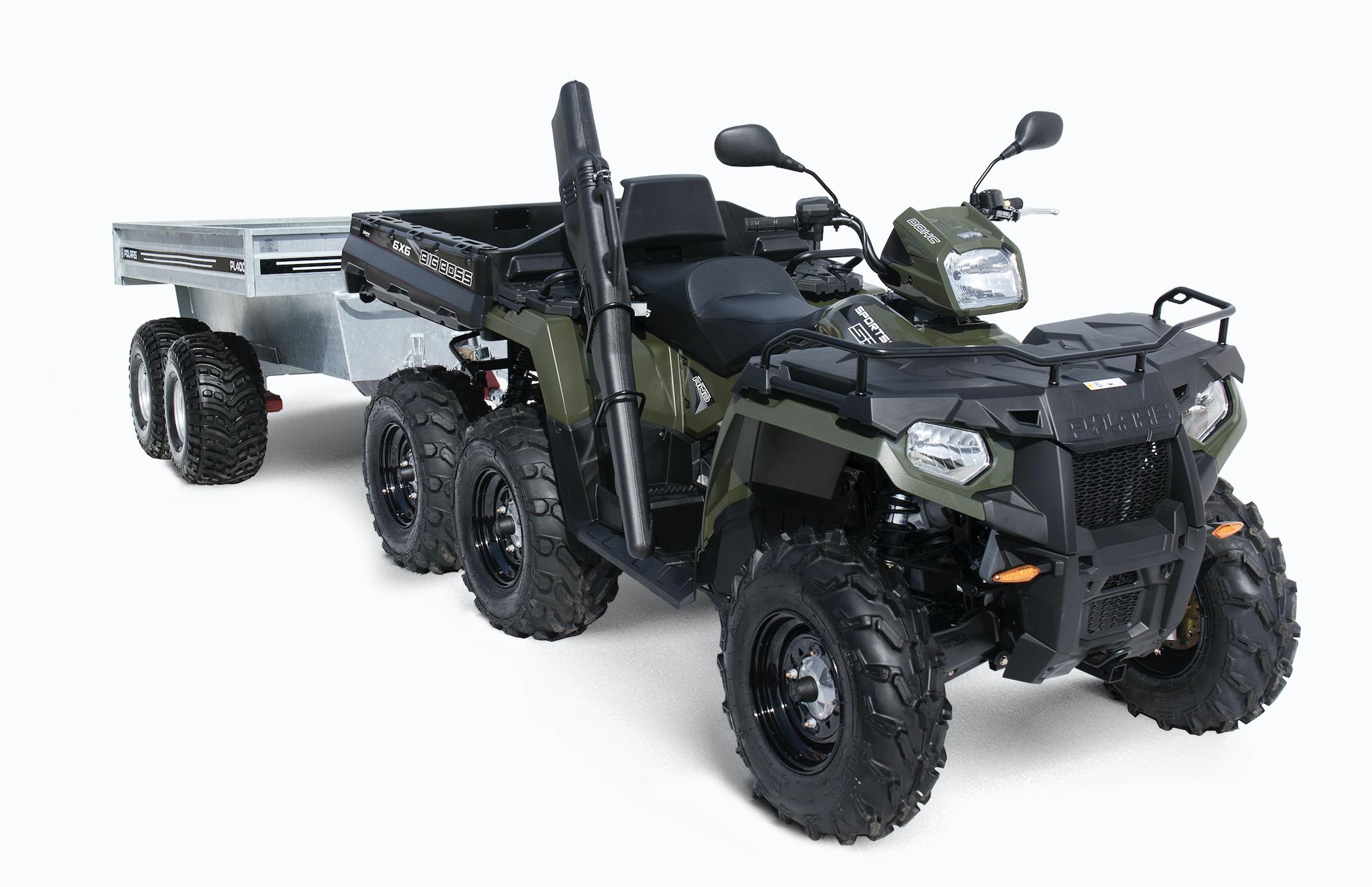 Polaris Sportsman 6x6 är ett förstaval hos de ATV-trogna jägarna. Bigg Boss driver på sex hjul och lastar över 350 kg på flaket. Med en boggievagn är man välutrustad. Tänk på att vapen ska vara oladdat vid transport och övriga regler ska följas.